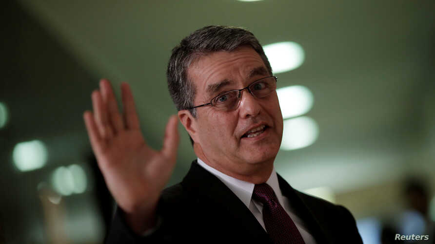 Roberto Azevedo, Director-General of the World Trade Organization (WTO), gestures during a news conference in Brasilia, Brazil, March 12, 2018.