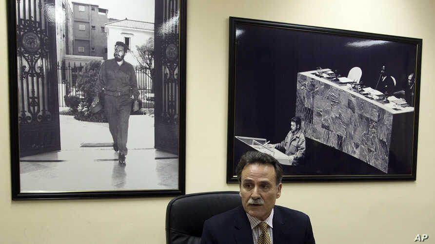 Cuba's Deputy Director of U.S. Affairs Gustavo Machin speaks to reporters at the Foreign Ministry in Havana, Cuba, Wednesday, Sept. 28, 2016. Machin rejected Donald Trump's threat to undo the detente with Cuba unless it abides by the Republican presi