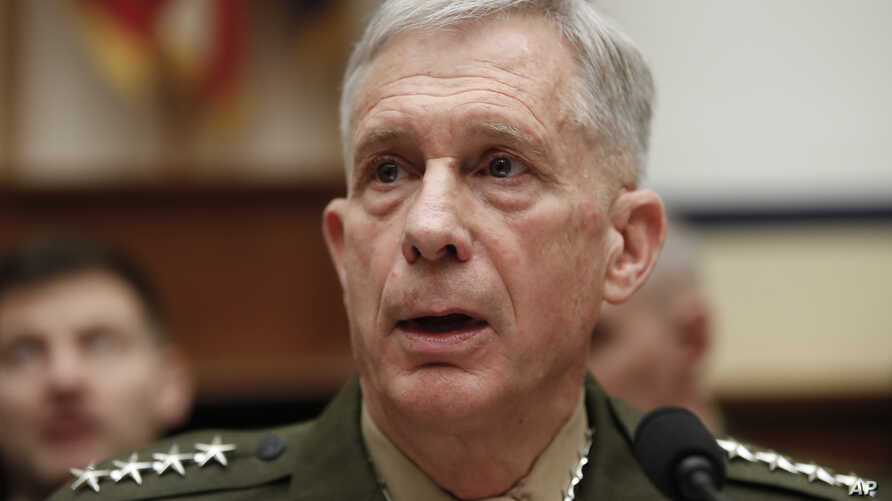 "Marine Gen. Thomas Waldhauser speaks before the start of a hearing before the House Armed Services Committee on Capitol Hill in Washington, March 6, 2018, about ""National Security Challenges and U.S. Military Activities in Africa."""