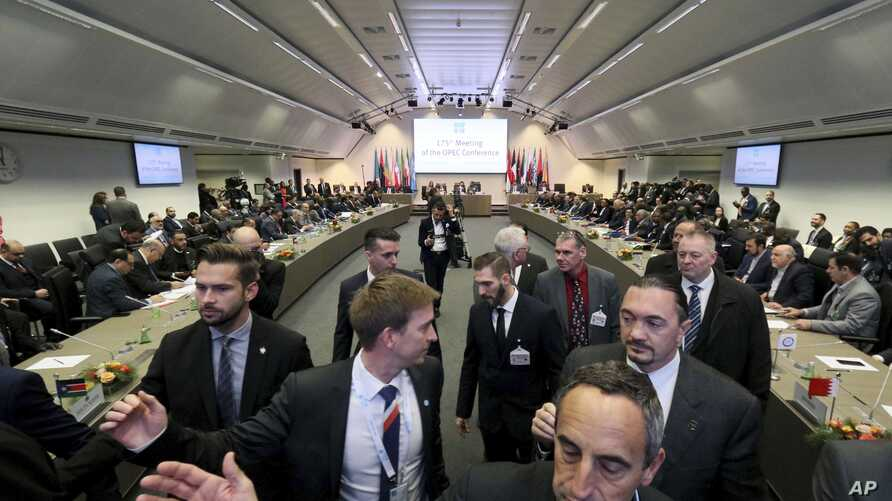 A view of the meeting of oil ministers of the Organization of the Petroleum Exporting Countries, at their headquarters in Vienna, Austria, Dec. 6, 2018.