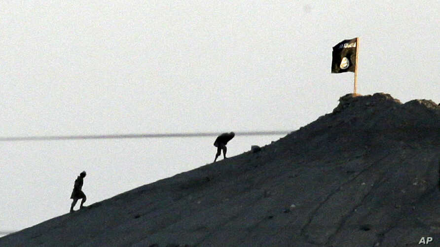 FILE - Militants with the Islamic State group are seen after placing their group's flag on a hilltop at the eastern side of the town of Kobani, Syria.