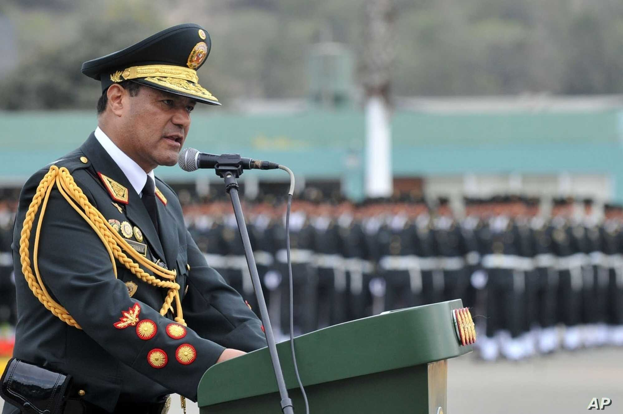 FILE - Gen. Raul Becerra, former head of the national police force, speaks during a police ceremony in Lima, Peru, Nov. 3, 2016, in this photo provided by the government news agency Andina. Authorities in Peru said Nov. 6, 2018, that Becerra is under