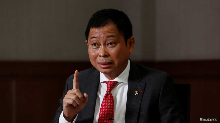 Indonesia's Energy and Mineral Resources Minister Ignasius Jonan gestures during an interview with Reuters at his office in Jakarta, Indonesia, Aug. 22, 2017.