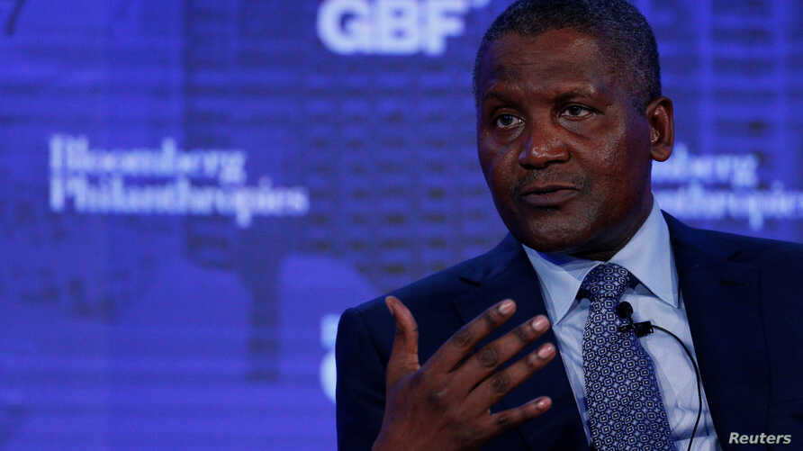 FILE - Chief Executive of Dangote Industries Limited Aliko Dangote speaks at the Bloomberg Global Business Forum in New York City, Sept. 20, 2017.