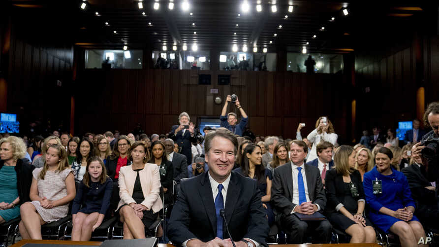 Supreme Court nominee Brett Kavanaugh, a federal appeals court judge, appears before the Senate Judiciary Committee on Capitol Hill in Washington, Sept. 4, 2018, to begin his confirmation to replace retired Justice Anthony Kennedy.