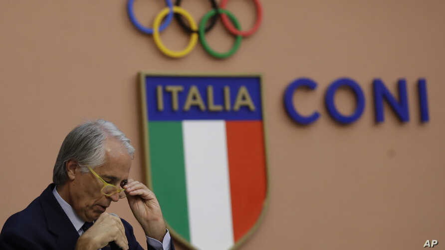 Italy Rome 2024 Bid: Italian Olympic Committee President Giovanni Malago' speaks during a press conference in Rome,  Tuesday, Oct. 11, 2016.