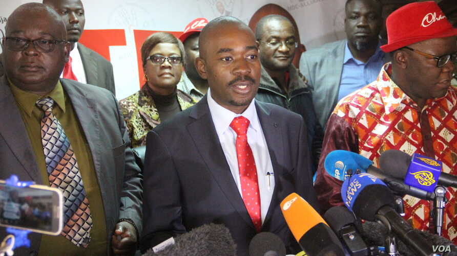 Nelson Chamisa leader of the Movement for Democratic Change (MDC) Alliance, speaks to reporters, July 25, 2018, in Harare. He says he is confident of victory in the July 30 election despite what he says is the Zimbabwe Electoral Commission's design o...