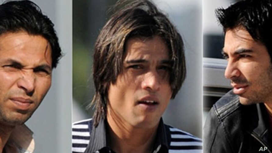 In this combination picture, Pakistan cricketers Salman Butt (R), Mohammad Asif (L) and Mohamed Aamer (C) are seen upon their arrival at the Qatar Financial Center to attend the final hearing of an anti-corruption tribunal with the International Cric