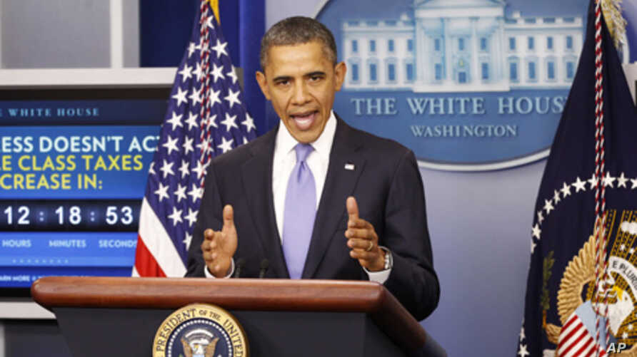 US President Barack Obama speaks on the extension of the payroll tax cut and of the Republican obstruction of Richard Cordray's nomination to head the Consumer Financial Protection Bureau (CFPB) in the briefing room of the White House in Washington,
