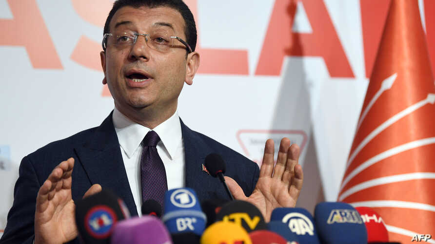 Turkey's main opposition party CHP candidate Ekrem Imamoglu, who claimed victory as Istanbul's mayor, speaks during a press conference at the CHP's Election Coordination Centre in Istanbul, April 3, 2019.