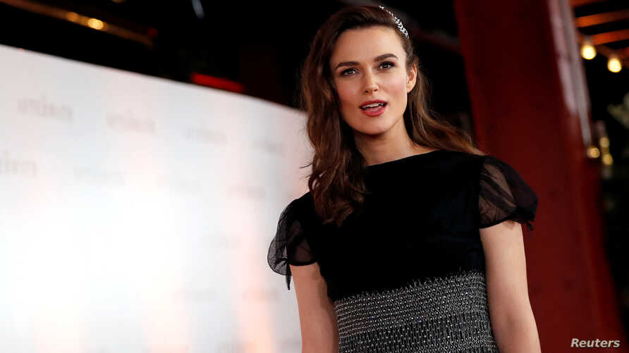 """Keira Knightley arrives for the world premiere of """"The Aftermath"""" at Picturehouse Central in London, Britain, Feb. 18, 2019."""