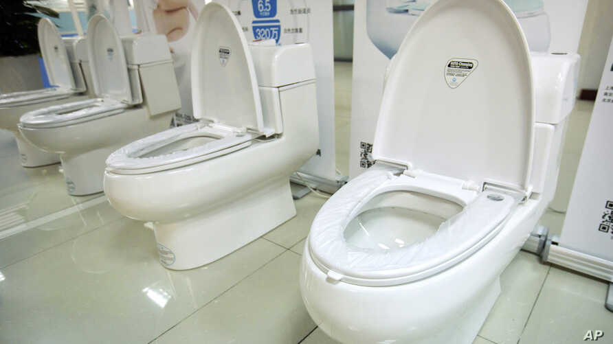 High-end Trump-branded toilets made by Shenzhen Trump Industrial Co. are on display at the company's offices in Shenzhen, China, Feb. 13, 2017. President Donald Trump recently secured trademark rights to his own name in China, after suffering rejecti