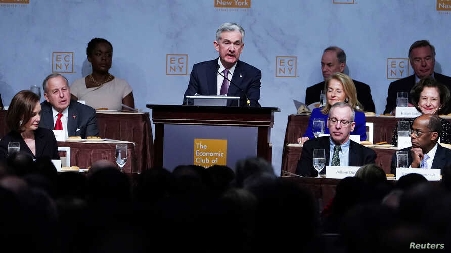 Federal Reserve Chairman Jerome Powell speaks at the Economic Club of New York's luncheon in the Manhattan borough of New York City, New York, U.S., Nov. 28, 2018.