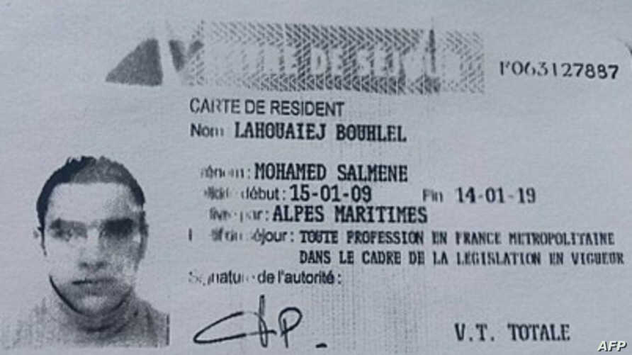 This image obtained by AFP on July 15, 2016 from a French police source shows a reproduction of the residence permit of Mohamed Lahouaiej-Bouhlel, the man who rammed his truck into a crowd celebrating Bastille Day in Nice on July 14.