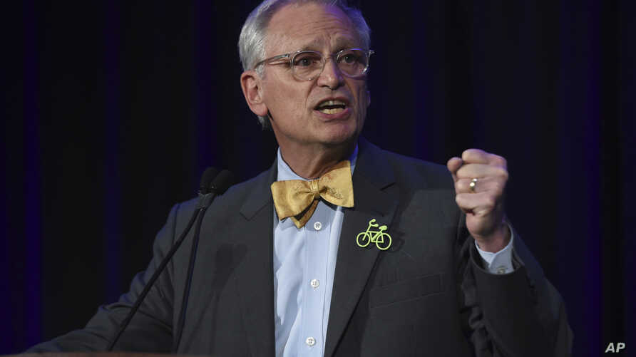 FILE - In this Nov. 6, 2018, file photo, Rep. Earl Blumenauer, D-Ore., speaks in Portland, Oregon. The White House and business groups are stepping up efforts to win congressional approval for the U.S.-Mexico-Canada trade accord.
