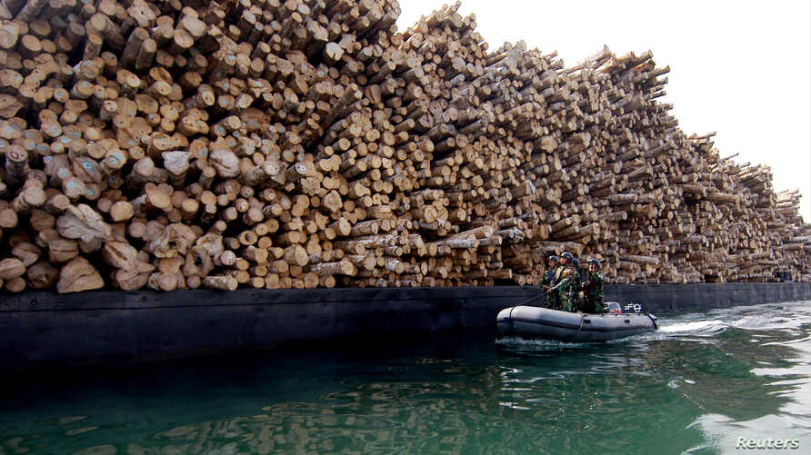 FILE - Indonesian marine soldiers patrol in front of a heap of illegal wood that was seized 20 miles (32 km) from the city of Selayar, South Sulawesi, Oct. 15, 2005.