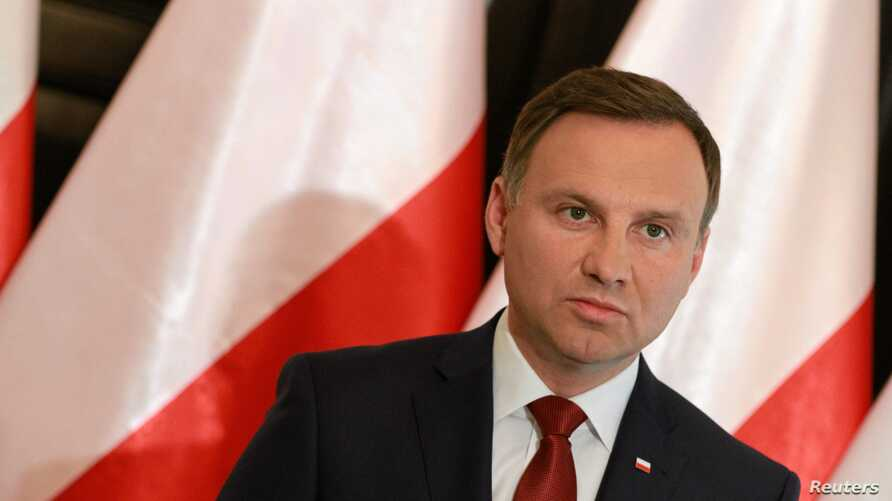 President-elect Andrzej Duda speaks during a press conference in Warsaw, Poland, June 11, 2015.
