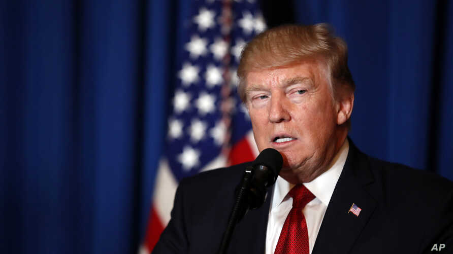 President Donald Trump speaks at Mar-a-Lago in Palm Beach, Fla., April 6, 2017, after the U.S. fired a barrage of cruise missiles into Syria Thursday night in retaliation for this week's gruesome chemical weapons attack against civilians.