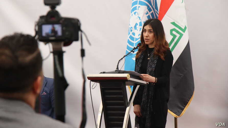 Nobel Peace Prize winner Nadia Murad was kidnapped from Kocho, Iraq, and enslaved by IS in 2014. Speaking to local families, leaders and activists in Kocho on March 15, 2019, she says the crisis for the Yazidi people continues as hundreds of thousand...