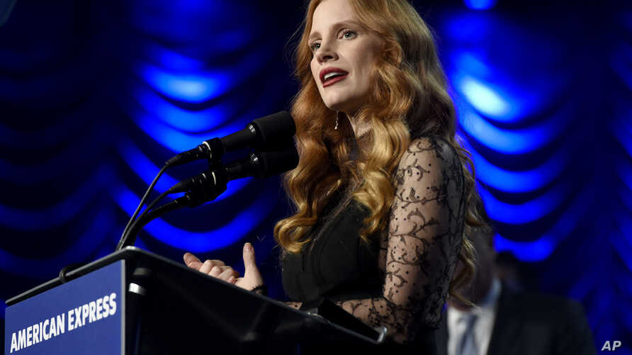 """Jessica Chastain accepts the chairman's award for """"Molly's Game"""" at the 29th annual Palm Springs International Film Festival on Tuesday, Jan. 2, 2018, in Palm Springs, California."""