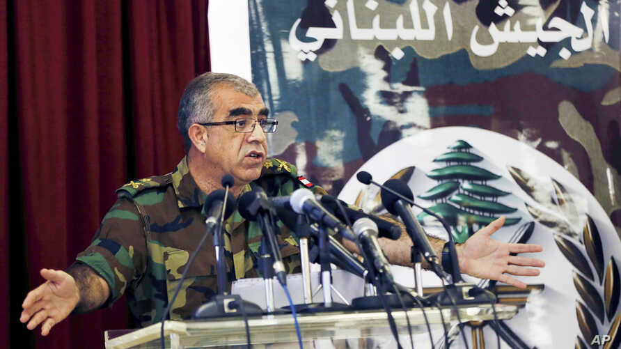Brig. Gen. Ali Qanso, chief military spokesman, at the Lebanese Defense Ministry in Yarzeh near Beirut, Lebanon, Aug. 19, 2017. Lebanon's U.S.-backed army launched operations against Islamic State group positions inside the country Saturday, to start