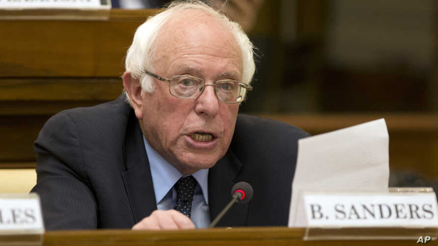 US Democratic presidential candidate, Sen. Bernie Sanders, I-Vt. speaks at a conference commemorating the 25th anniversary of 'Centesimus Annus,' at the Vatican, April 15, 2016.