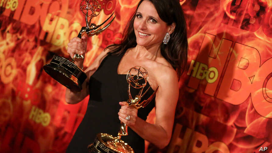 """""""Veep"""" star Julia Louis-Dreyfus arrives at the 2015 HBO Primetime Emmy Awards After Party at Pacific Design Center, Sept. 20, 2015, in West Hollywood, California."""