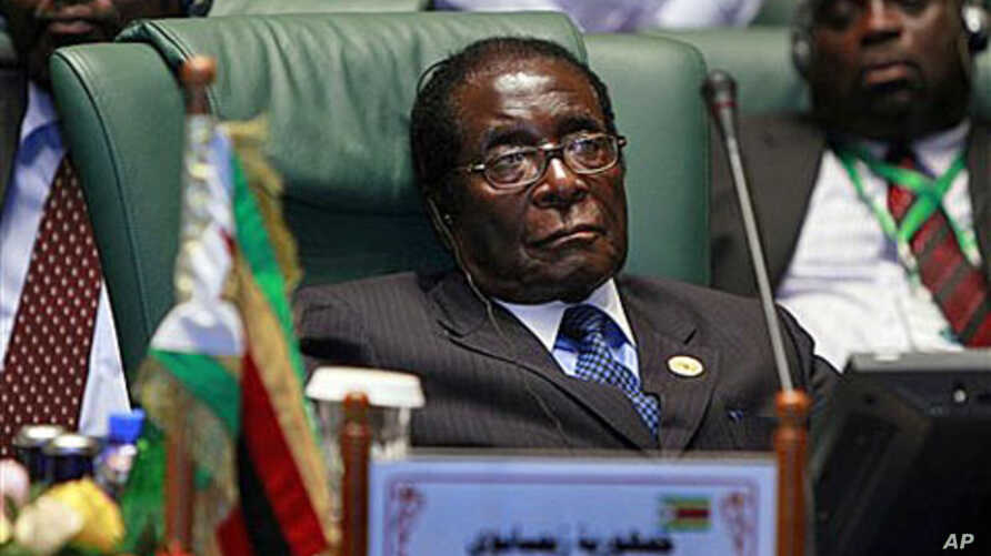 Zimbabwe's President Robert Mugabe, during the second Afro Arab summit in Sirte, Libya, 10 Oc 2010 (file photo)