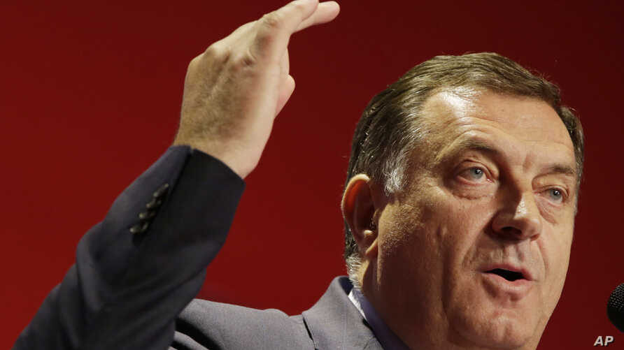 Bosnian Serb Milorad Dodik, President of the Bosnian Serb region of Republic of Srpska,speaks to supporters at a pre election rally.