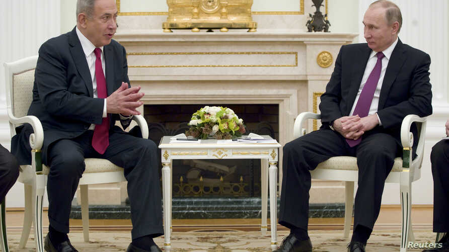 Russian President Vladimir Putin (right) meets with Israeli Prime Minister Benjamin Netanyahu in Moscow, Russia, March 9, 2017.