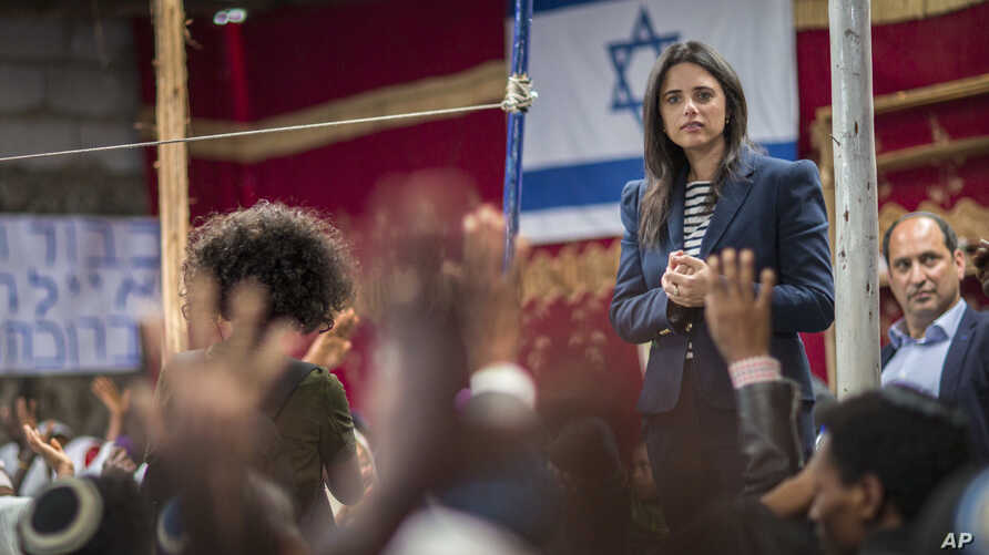 Israel's Justice Minister Ayelet Shaked, seen in this  April 22, 2018 photo, says  that reaching peace with the Palestinians is currently impossible.