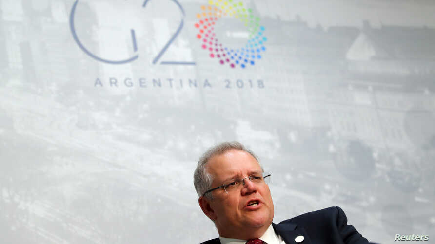 Australia's Treasurer Scott Morrison speaks during an interview with Reuters at the G20 Meeting of Finance Ministers in Buenos Aires, July 22, 2018. Argentina will host G20 world leaders beginning Nov. 30.