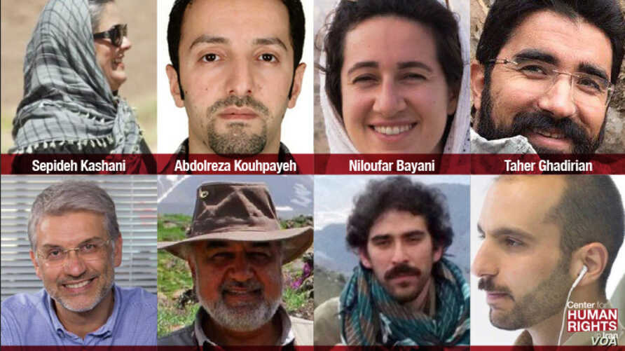 This image, published by the New York-based Center for Human Rights in Iran, shows eight Iranian environmentalists who went on trial in Tehran, Jan. 30, 2019, on suspicion of being spies.