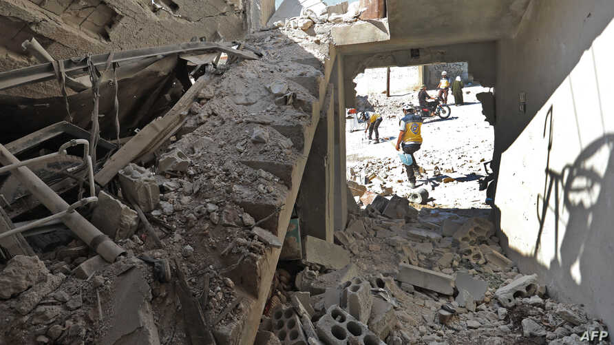 This picture shows the destruction caused by reported govenrment forces' bombings in the town of Al Habit on the southern edges of rebel-held Idlib province on Sept. 10, 2018.