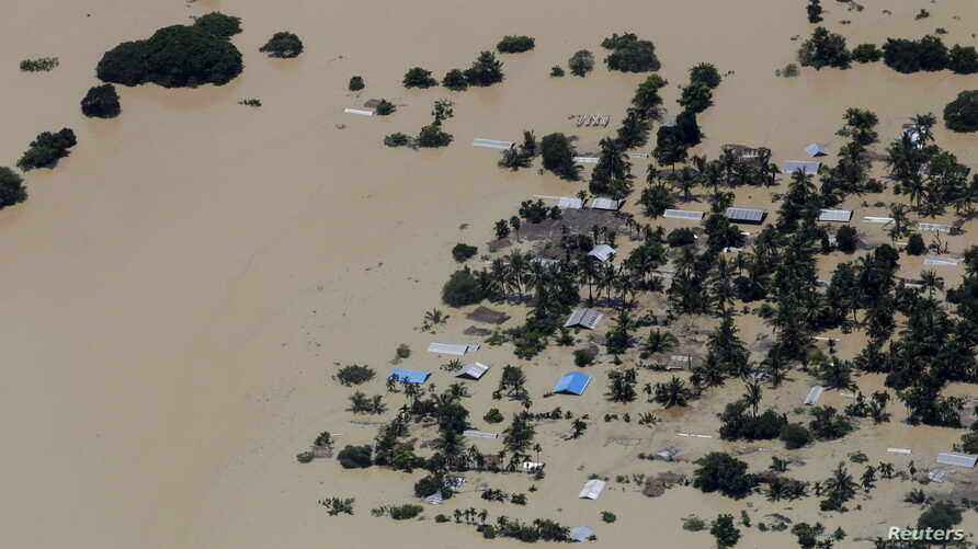 An aerial view of the flooded Kalay township at Sagaing division, Myanmar, August 2, 2015.