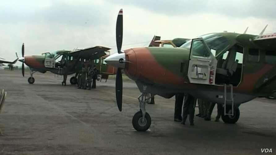 Aircrafts donated by America at the Yaounde military air base in Cameroon, May 11 2018
