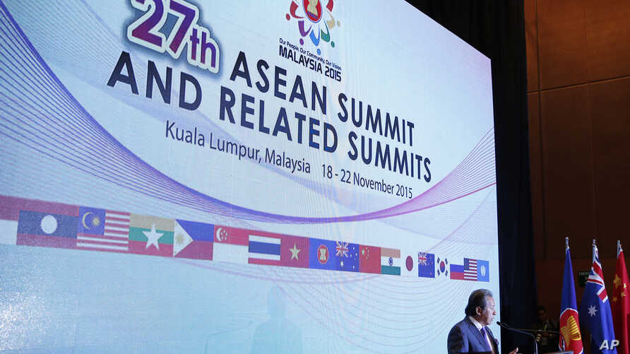 Malaysian Foreign Minister Anifah Aman speaks to the media during the 27th Association of Southeast Asian Nations (ASEAN) summit at the Kuala Lumpur Convention Center in Kuala Lumpur, Malaysia, Nov. 18, 2015.