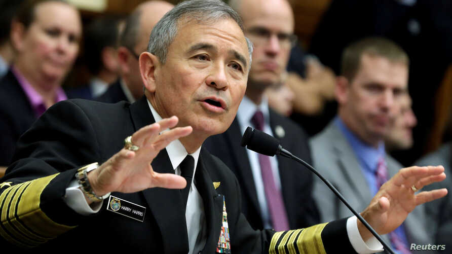 "The Commander of the U.S. Pacific Command, Admiral Harry Harris, testifies before a House Armed Services Committee hearing on ""Military Assessment of the Security Challenges in the Indo-Asia-Pacific Region"" on Capitol Hill in Washington, April 26, 20"