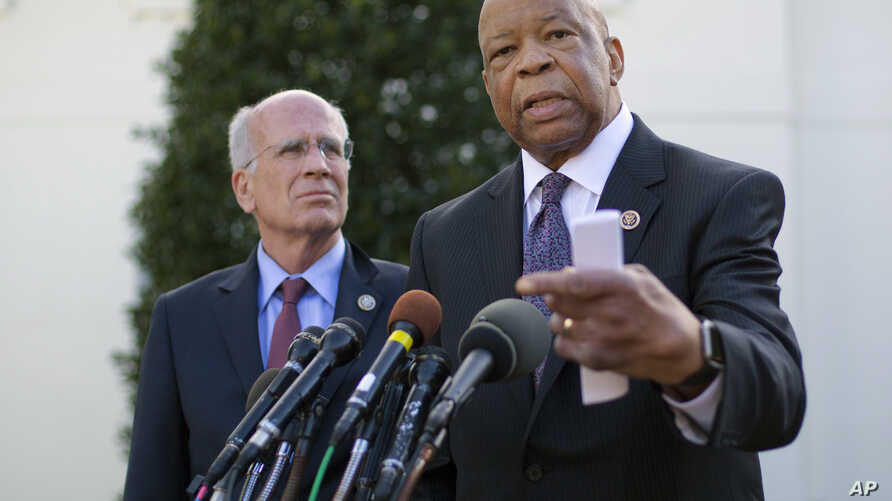 Rep. Elijah Cummings, D-Md., accompanied by Rep. Peter Welch, D-Vt., speaks to members of the media outside the West Wing of the White House in Washington, March 8, 2107, following their meeting with President Donald Trump.