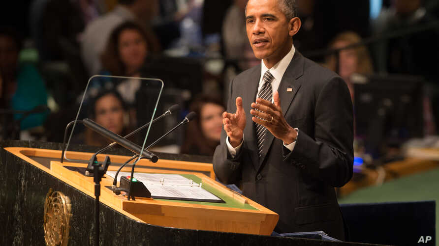 President Barack Obama addresses the 2015 Sustainable Development Summit, Sunday, Sept. 27, 2015, at United Nations headquarters.