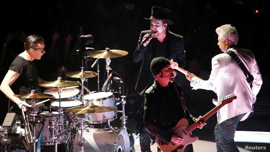 "U2 performs during the band's ""Experience + Innocence"" tour at The Forum in Inglewood, California, May 16, 2018."