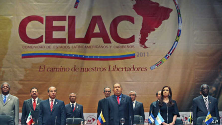 Leaders stand during the opening session of the summit of the 33-member Community of Latin American and Caribbean States [CELAC] hosted by Venezuelan President Hugo Chavez (C), in Caracas, Venezuela, December 2, 2011.