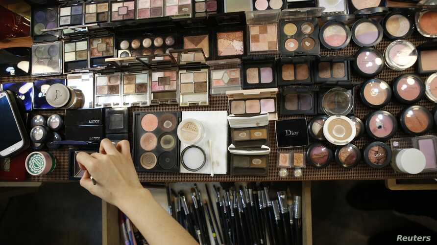 Various cosmetics are laid out at a beauty salon in Seoul, South Korea, Dec. 23, 2014.