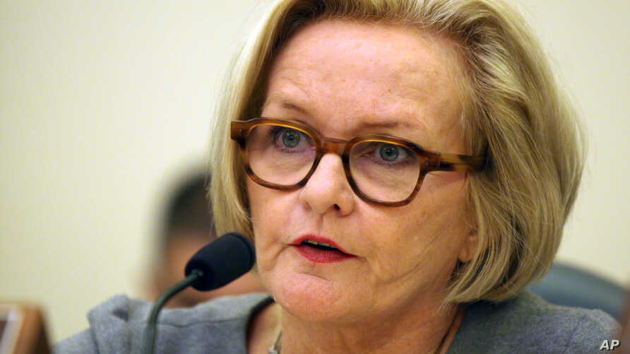 FILE - Sen. Claire McCaskill, D-Mo.,  questions witnesses at the Senate Commerce, Science and Transportation Subcommittee on Consumer Protection, Product Safety and Insurance.