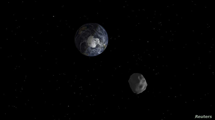 FILE - The passage of asteroid 2012 DA14 through the Earth-moon system in February 2013 is depicted in this handout image from NASA. This asteroid, at 150 feet in diameter, was puny compared with the visitor we're about to get: Asteroid 2014 JO25 is