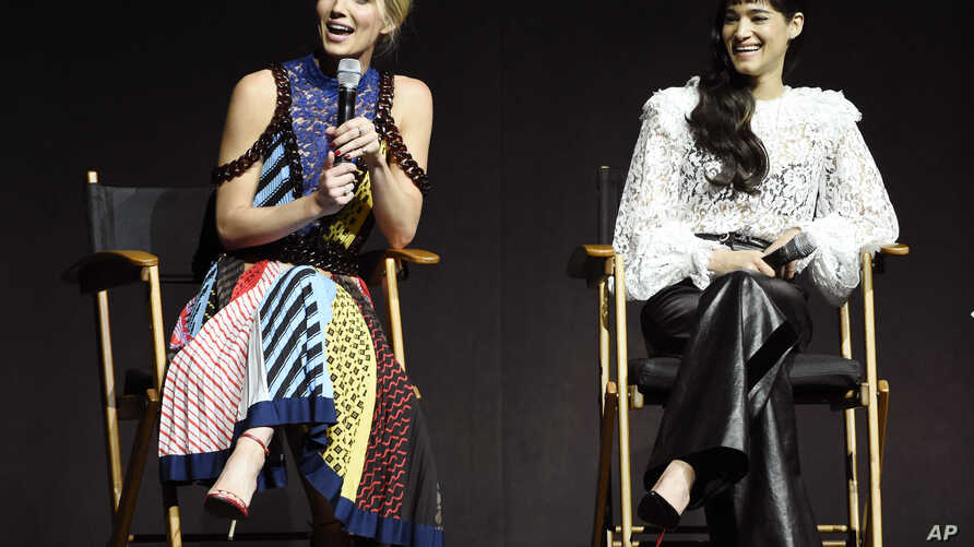 """Annabelle Wallis (left) and Sofia Boutella, cast members in the upcoming film """"The Mummy,"""" discuss the film during the Universal Pictures presentation at CinemaCon 2017 at Caesars Palace, March 29, 2017, in Las Vegas."""