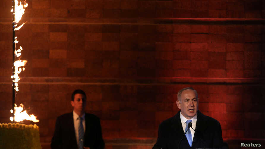 Israel's Prime Minister Benjamin Netanyahu speaks during the opening ceremony of Holocaust Memorial Day at the Yad Vashem Holocaust Memorial in Jerusalem, April 23, 2017.