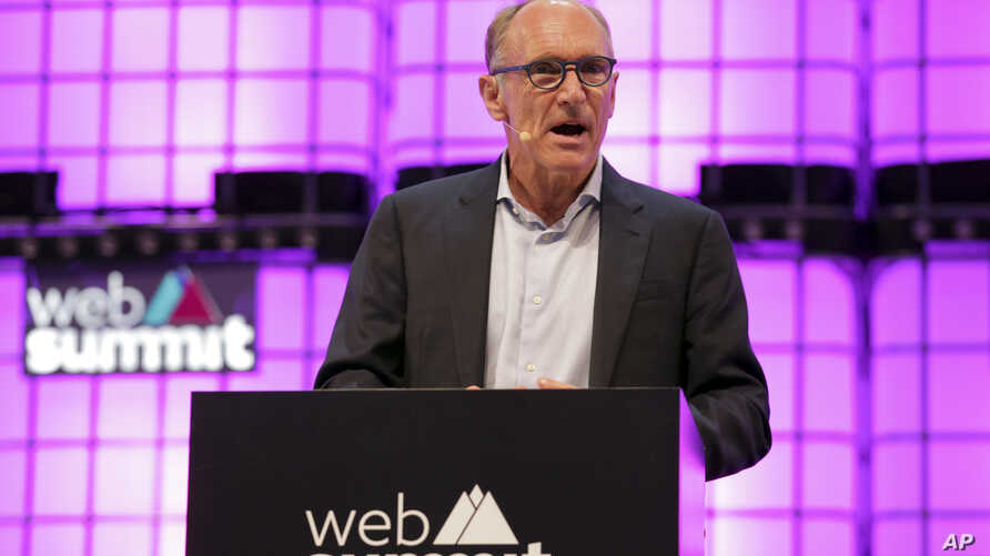 FILE - Tim Berners-Lee, known as the inventor of the World Wide Web, addresses the attendees during the opening of the Web Summit technology conference in Lisbon, Portugal, Nov. 5 2018.