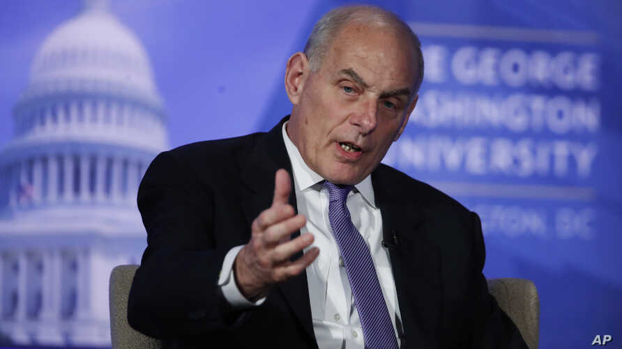 Department of Homeland Security Secretary John Kelly participates in a discussion at George Washington University in Washington, April 18, 2017.