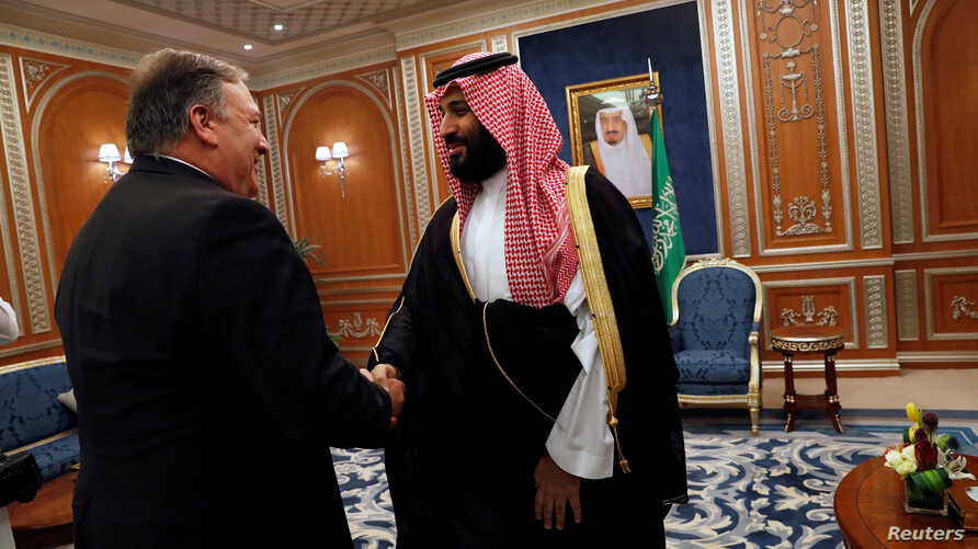 U.S. Secretary of State Mike Pompeo meets with the Saudi Crown Prince Mohammed bin Salman during his visits in Riyadh, Saudi Arabia, Oct. 16, 2018.